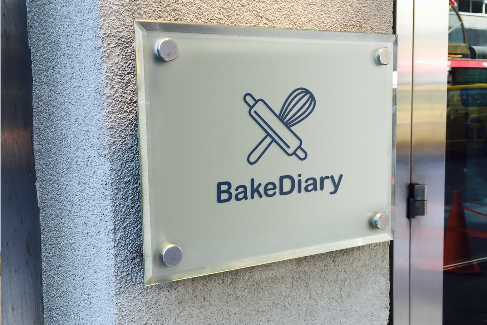 Bake Diary logo on office wall
